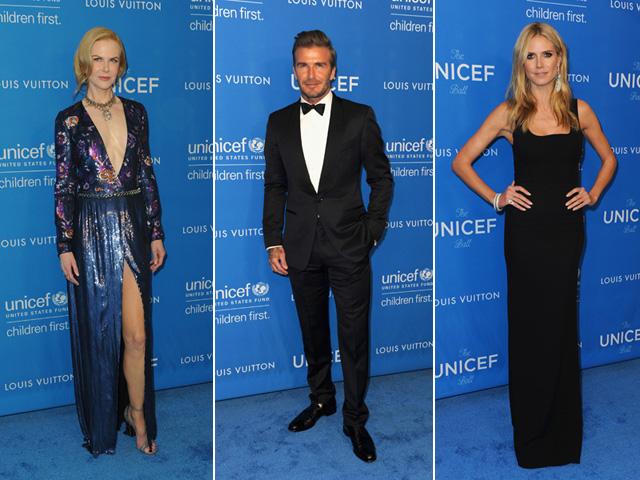 Nicole Kidman, David Beckham e   em gala da Unicef  ||  Créditos: Getty Images