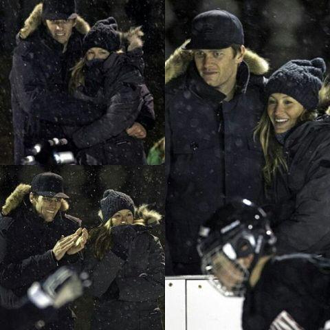 Gisele e Tom agarradas para ver o filho e espantar o frio      Créditos Reprodução Instagram giselebundchenonline