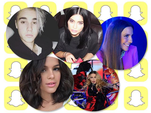 Justin Bieber, Kylie Jenner, Ivete Sangalo, Bruna Marquezine e Madonna são algumas celebs para seguir no Snapchat || Créditos: Reprodução Instagram/Divulgação/Reprodução Facebook