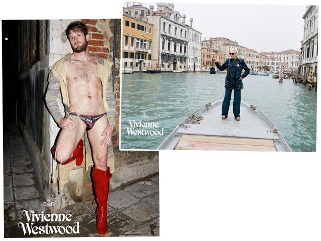 O astro pornô gay Colby Keller e Vivienne Westwood na campanha de sua marca      Créditos: Divulgação