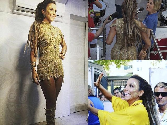 Ivete Sangalo de dreadloks no Carnaval de Salvador    Créditos: Reprodução Instagram