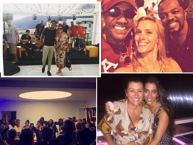 Regina Casé com seus convidados: Carolina Dieckmann, Mumuzinho e a filha Benedita Zerbini || Créditos: Reprodução Instagram