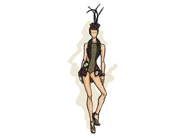 O figurido de Claudia Leitte para a sexta-feira de Carnaval: cartas, fichas e jogos  ||  Créditos: Divulgação