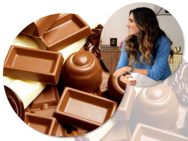 Andrea Santa Rosa Garcia e o chocolate: pode comer, sim || Créditos: iStock e Juliana Rezende