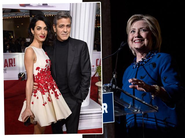 George e Amal Clooney em campanha por Hillary Clinton  ||  Créditos: Getty Images