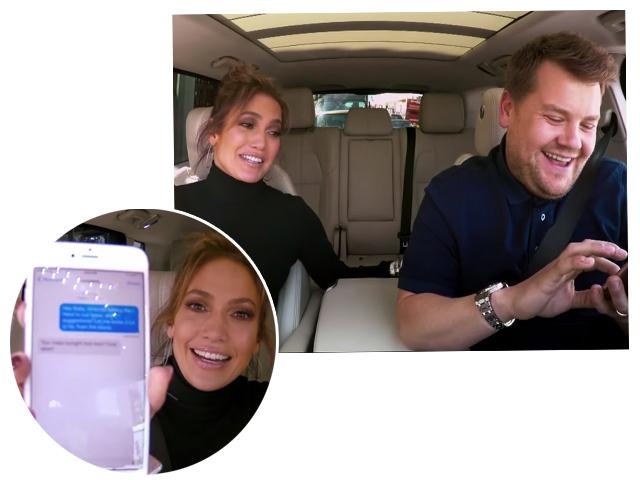 JLo com James durante a troca de mensagens com DiCaprio  ||  Créditos: Reprodução Youtube