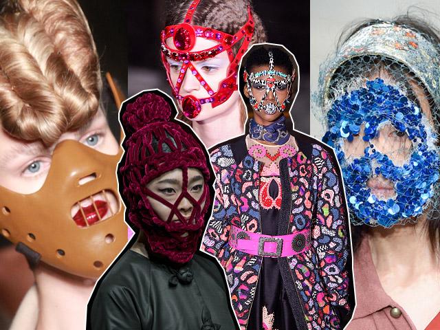 Máscaras inusitadas marcaram desfiles de moda da última temporada || Créditos: Getty Images