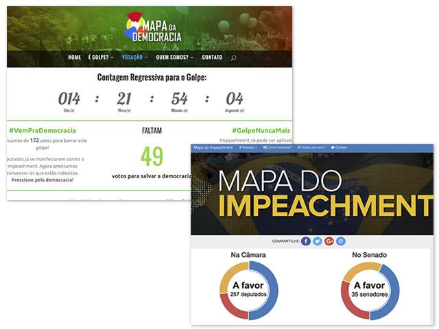 Sites criados por movimentos contra e a favor do impeachment da presidente Dilma   Reprodução