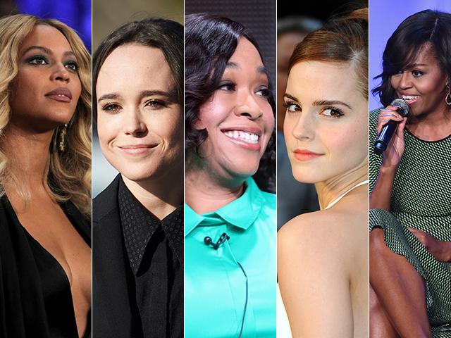 Da esq. para a dir.: Beyoncé, Ellen Page, Shonda Rimes, Emma Watson e Michelle Obama||Créditos: Getty Images