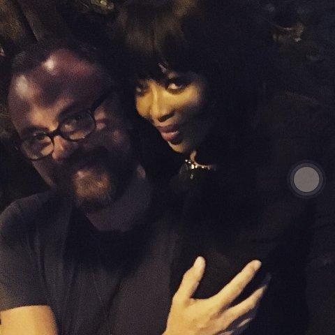 Marcos Campos e Naomi Campbell nesse domingo || Créditos: Reprodução Instagram