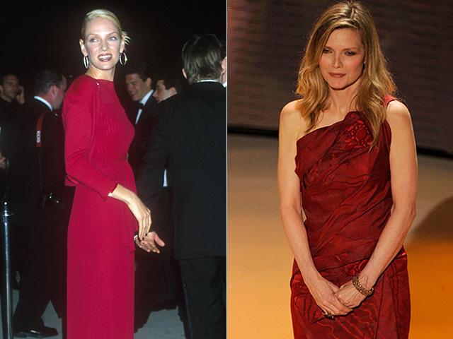 Uma Thurman e Michelle Pfeiffer no Oscar de 2000 e 2010 respectivamente || Créditos: Getty Images/Reprodução