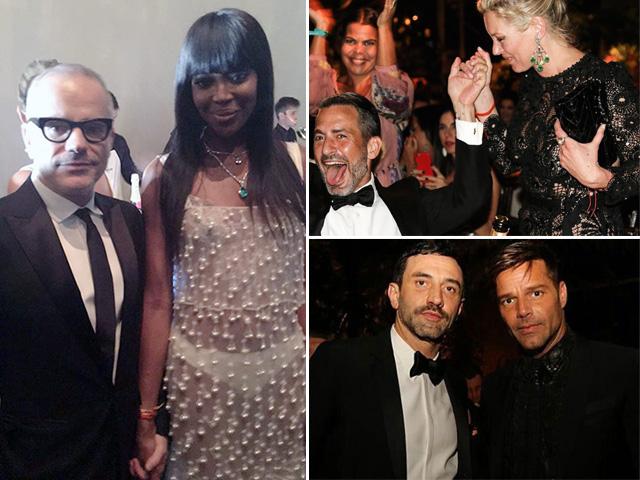 Giovanni Bianco, Naomi Campbell, Marc Jacobs, Kate Moss, Riccardo Tisci e Ricky Martin no gala da amfAR || Créditos: Glamurama/Reprodução Instagram