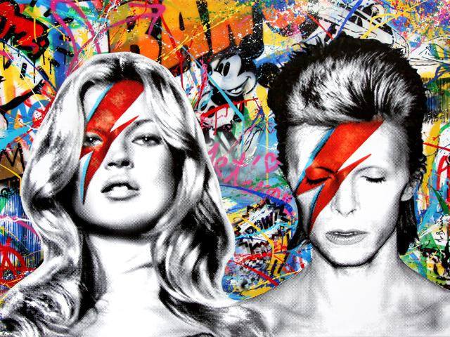 O artista plástico Mr.Brainwash juntou dois ídolos em um quadro que deve arrancar um dos maiores lances da noite  || Créditos: Divulgação