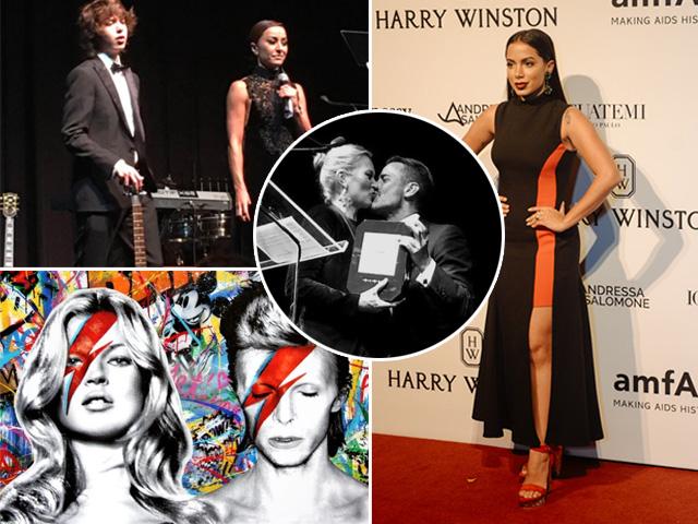 Lucas Jagger e Sabrina Sato com a guitarra de Mick Jagger, o quadro de Mr. Brainwash, o beijo de amizade entre Kate Moss e Marc Jacobs, que comprou uma foto com a top, e Anitta, que arrematou um quadro d'osgemeos || Créditos: Reprodução Instagram/Glamurama/André Ligeiro
