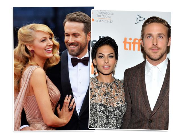 Blake Lively e Ryan Reynolds; e Eva Mendes e Ryan Gosling estão grávidos! || Créditos: Getty Images