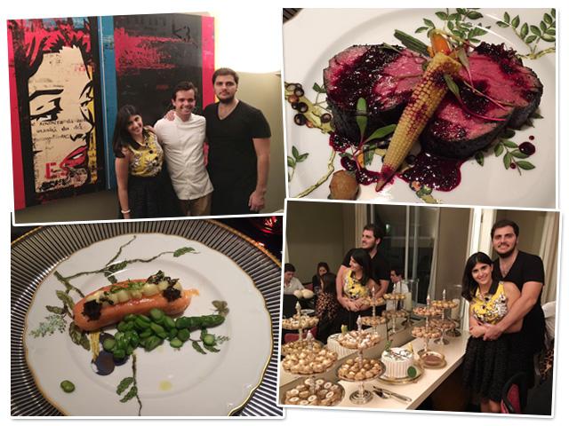 Sofia Derani e André Bocchi e o chef Diogo Seadon     Créditos: Divulgação