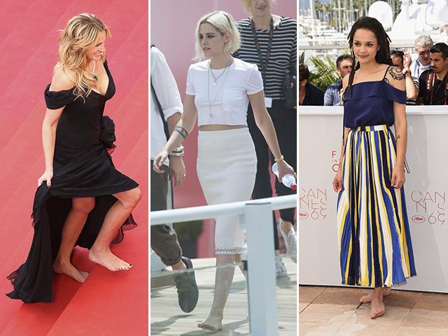 Julia Roberts, Kristen Stewart e Sasha Lane descalças pela igualdade em Cannes  ||  Créditos: Getty Images