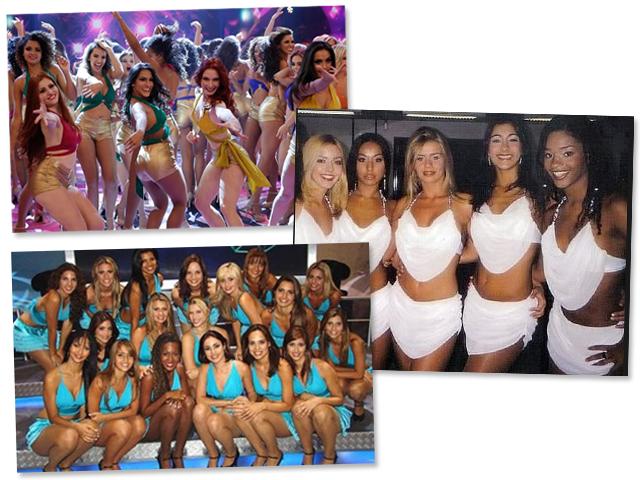 O balé do Faustão através das décadas. Repare em Sabrina Sato e Juliana Alves de branco || Créditos: Reprodução/ Divulgação/ TV Globo