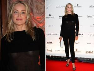 Sharon Stone marca presença no gala da amfAR com look ousado