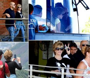 Jane Fonda aproveita o tempo bom no Rio para subir ao Pão de Açúcar