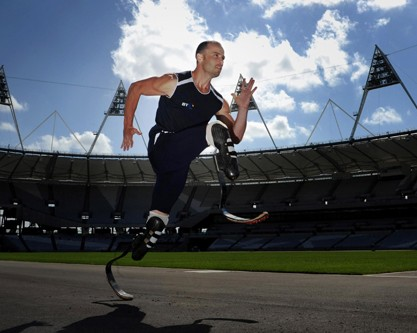 OSCAR PISTORIUS DURING THE PHOTOCALL AT THE OLYMPIC PARK IN LOND