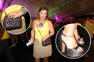 Maxicolar, pulseiras e glitter no look de Rosana Saad no domingo de Carnaval