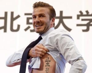 Na China, David Beckham fala sobre significado de suas tatuagens