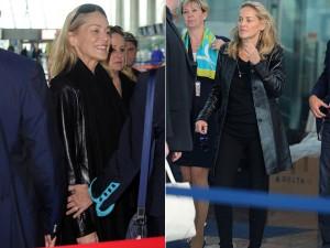 Sharon Stone encara os paparazzi de cara lavada na volta de Cannes