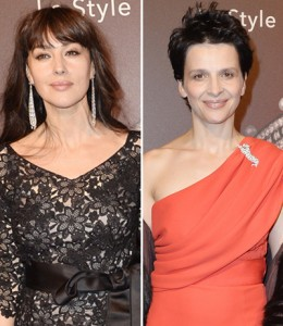 Monica Belucci e Juliette Binoche em noitada artsy em Paris