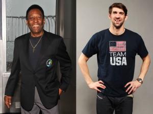 Encontro de reis: Michael Phelps grava comercial com Pelé em SP