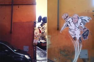 Mais humor, por favor! Grafite do Papa Super-Homem é apagado em Roma