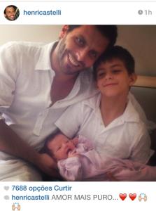 Henri Castelli comemora a chegada da filha com foto no Instagram
