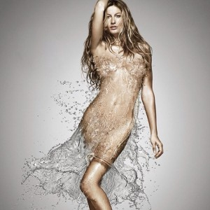 Gisele Bündchen posta foto vestida somente com água. Oi?