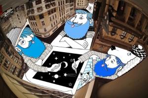 Artista francês enfeita os céus de cidades do mundo com doodles psicodélicos
