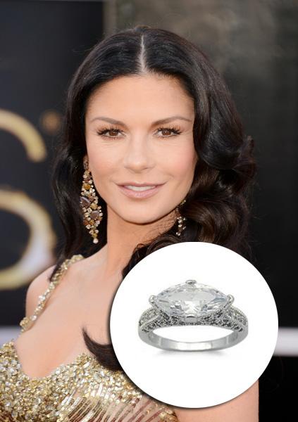 Catherine Zeta Jones - US$ 2,4 milhões. Esse anel em estilo vintage dado para a atriz pelo então noivo Michael Douglas tem um diamante principal de 10 quilates e outros 28 pequenos diamantes para fazer o acabamento