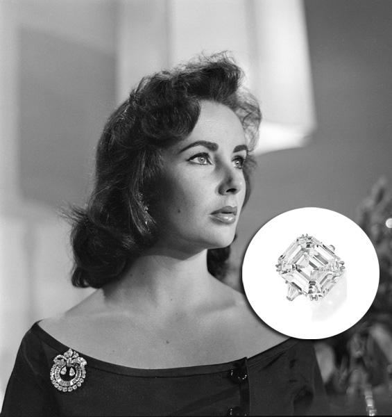 Elizabeth Taylor - US$ 8,8 milhões. Esse anel, que tem um brilhante central de mais de 33 quilates, foi dado a Liz por Richard Burton, com quem ela casou duas vezes. Em 2011, um leilão da agência Christie's vendeu a peça para com comprador asiático anônimo pelo mesmo valor milionário