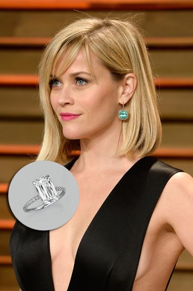 Reese Witherspoon – U$S 2 milhões. Jim Toth presenteou a atriz com um anel de noivado feito de um diamante de 4 quilates e rodeado por uma riviera. Foi criado pelo joalheiro William Goldberg