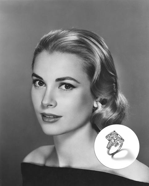 Grace Kelly - US$ 4 milhões. O anel de noivado da princesa Grace Kelly era um Cartier com um diamante de 10.47 quilates no topo, emoldurado por outras duas baguetes. Tudo por conta de Rainier III, Príncipe de Mônaco