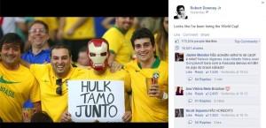 "Robert Downey Jr. acompanha a Copa e ""torce"" pelo Brasil. Entenda"