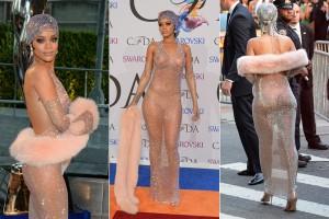 Rihanna veste apenas cristais e rouba a cena em evento fashion