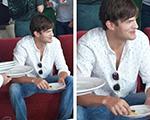 Ashton Kutcher está no Mineirão para assistir ao jogo Brasil X Alemanha
