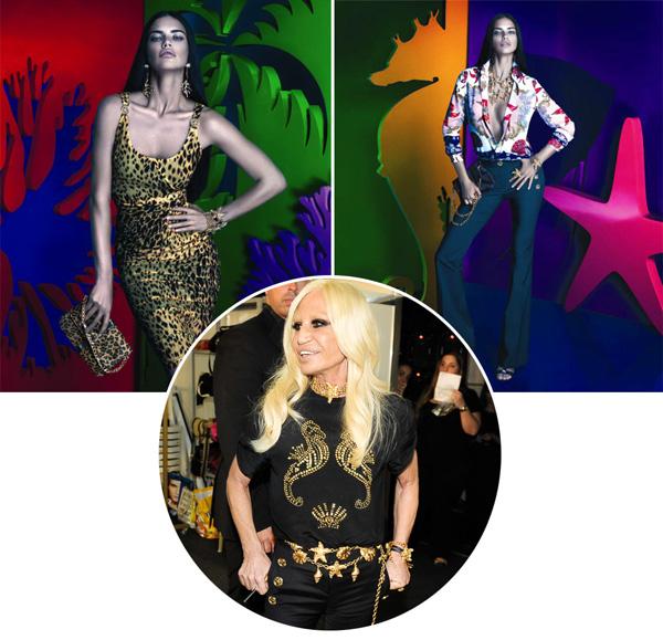 Coleção da Versace para a Riachuelo, e a criadora, Donatella Versace