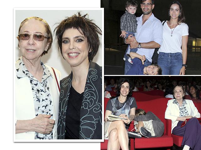 Adriana Calcanhoto com Fernanda Montenegro, a atriz com Fernanda Torres e Antonio e Juliano e Leticia Cazarré com os filhos