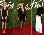 Profusão de looks em preto e branco no tapete vermelho do British Fashion Awards