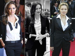 A elegância boyish de Angelina Jolie em looks de alfaiataria