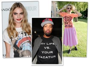 Celebs vestem t-shirts com frases de humor. Vem ler o que elas têm a dizer!