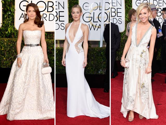 Salma Hayek de Alexander McQueen,Kate Hudson de Versace, Sienna Miller de Miu Miu || Créditos: Getty Images