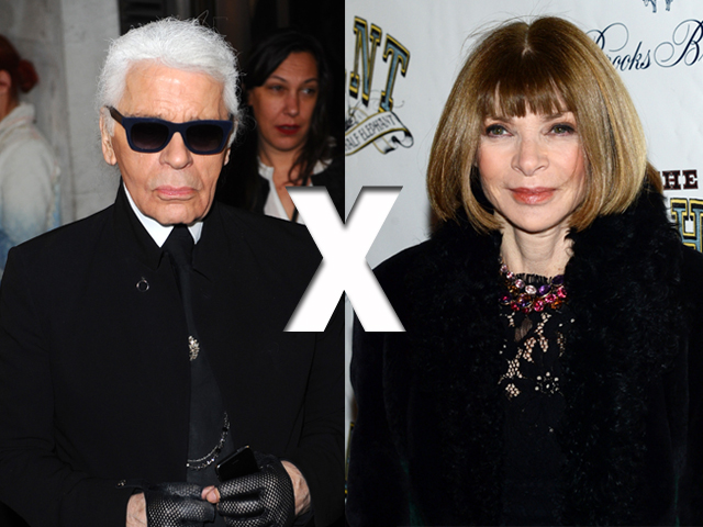 Karl Lagerfeld e Anna Wintour || Crédito: Getty Images