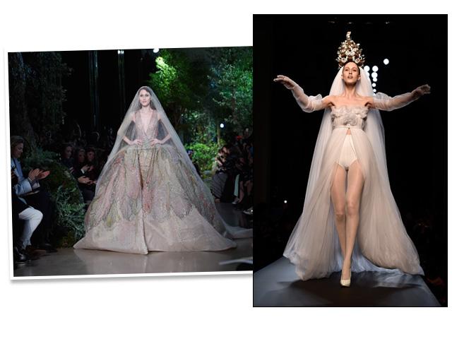 Noiva de Elie Saab e de Jean Paul Gaultier || Créditos: Getty Images