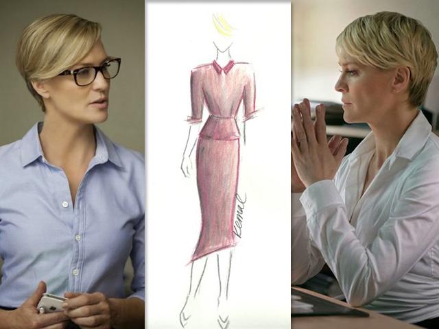 Robin Wright na pele de Claire Underwood. No centro, o novo estilo da personagem  || Créditos: Getty Images / Reprodução